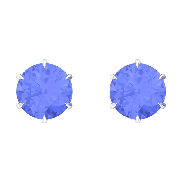 9 MM Claw Set Tanzanite Solitaire Stud Earrings