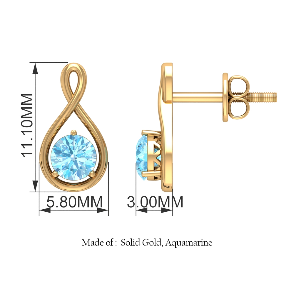 4 MM Aquamarine Solitaire and Gold Infinity Stud Earrings