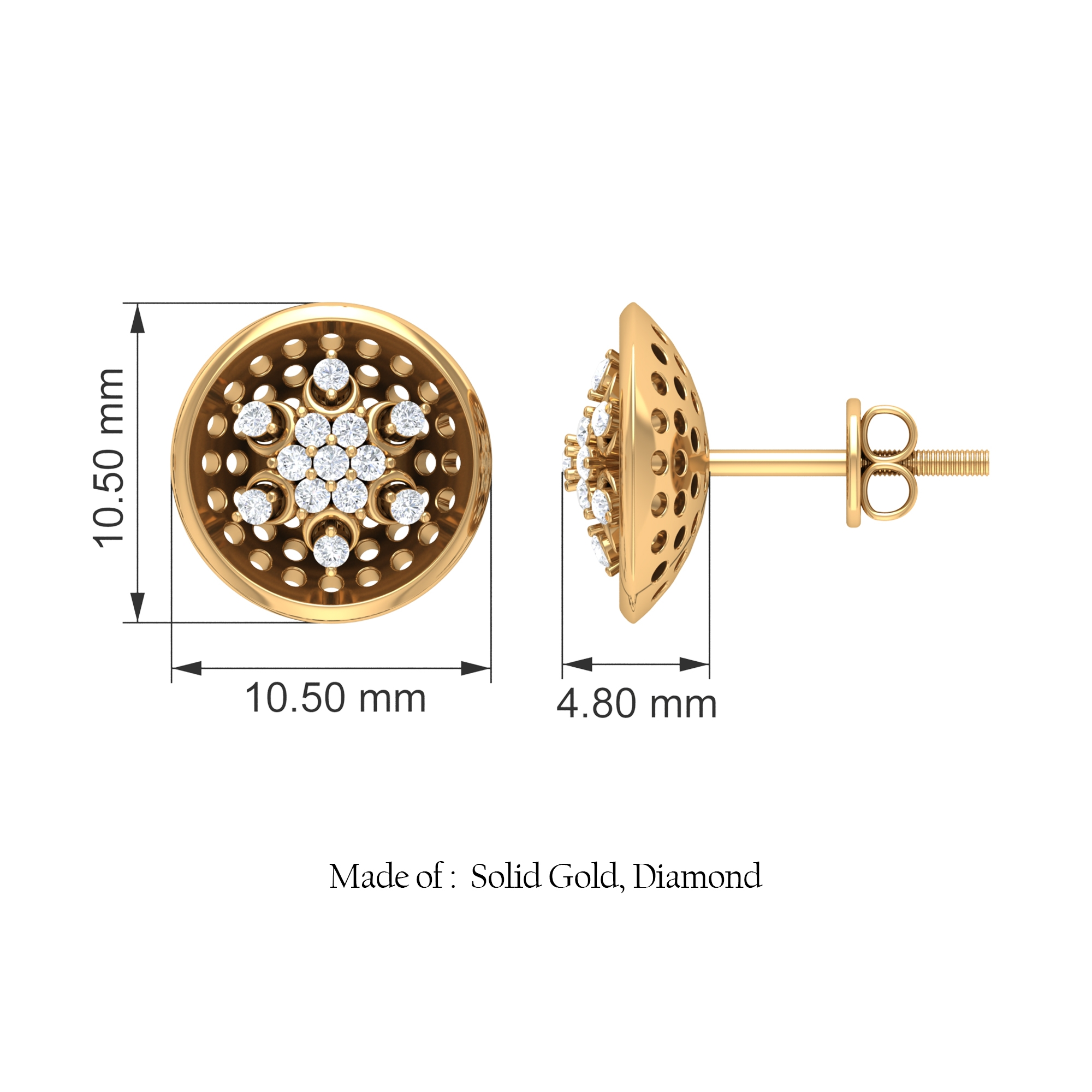1/4 CT Diamond Cluster and Gold Cut Out Stud Earrings for Women