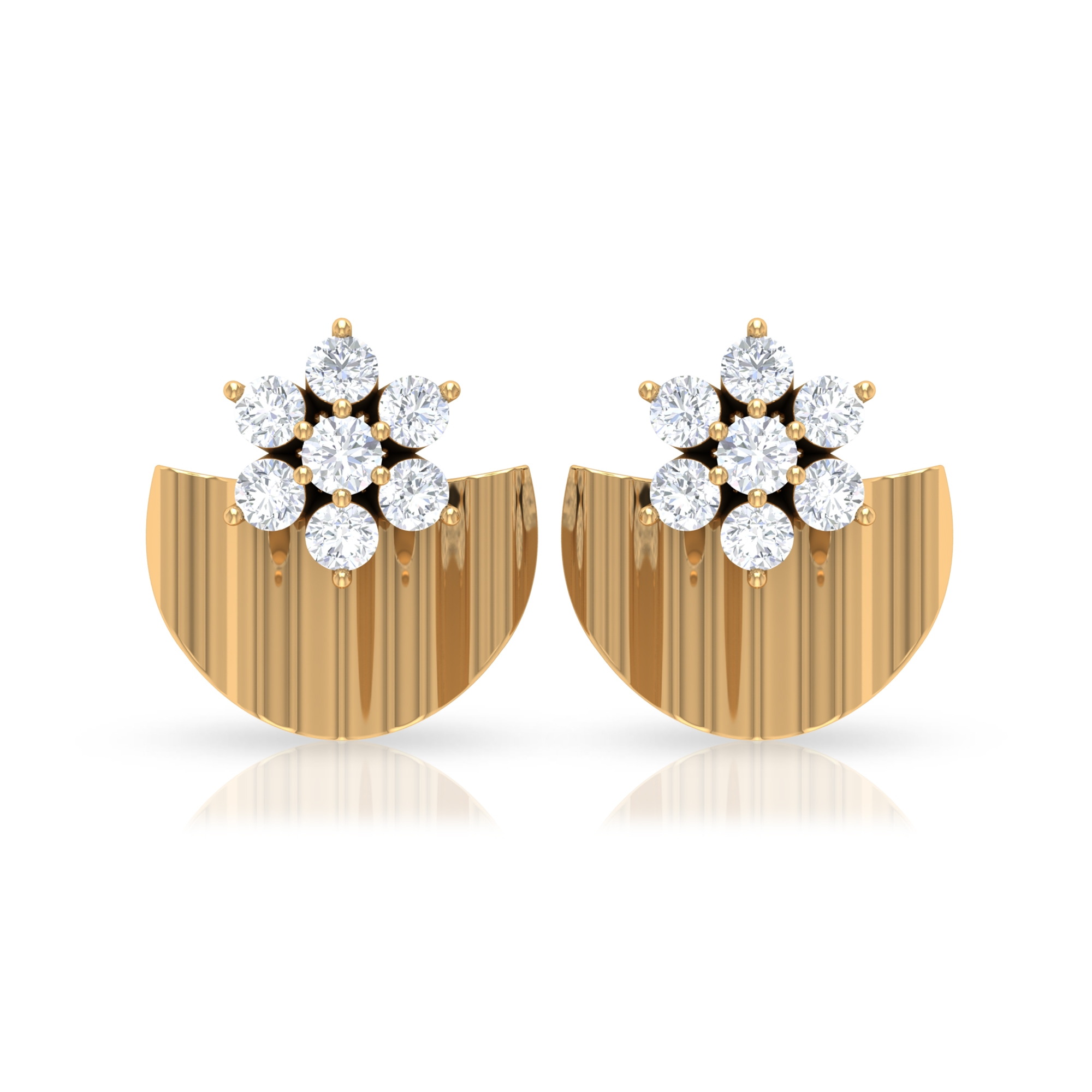 1/2 CT Diamond Flower and Gold Half Disc Stud Earring