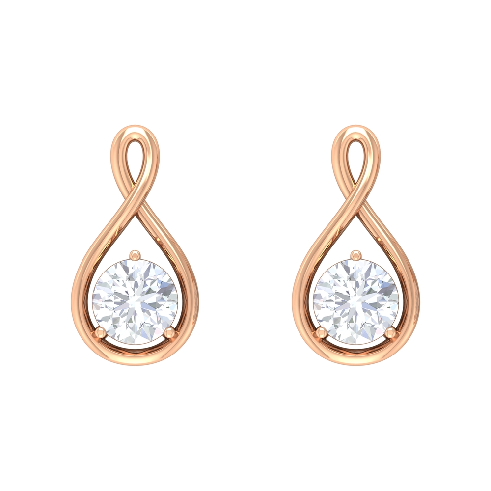 0.50 CT Solitaire Diamond and Gold Infinity Stud Earrings with Screw Back