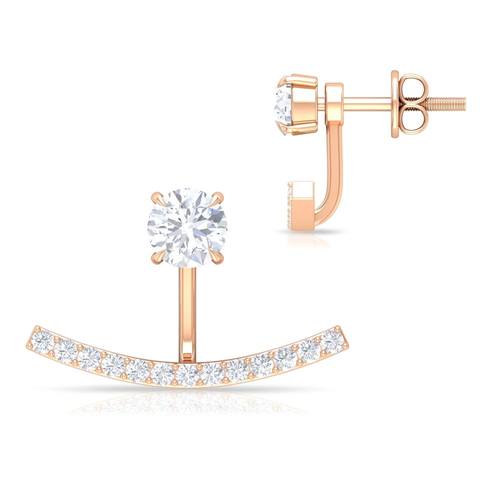 0.75 CT Classic Diamond Jacket Earrings with Screw Back for Women