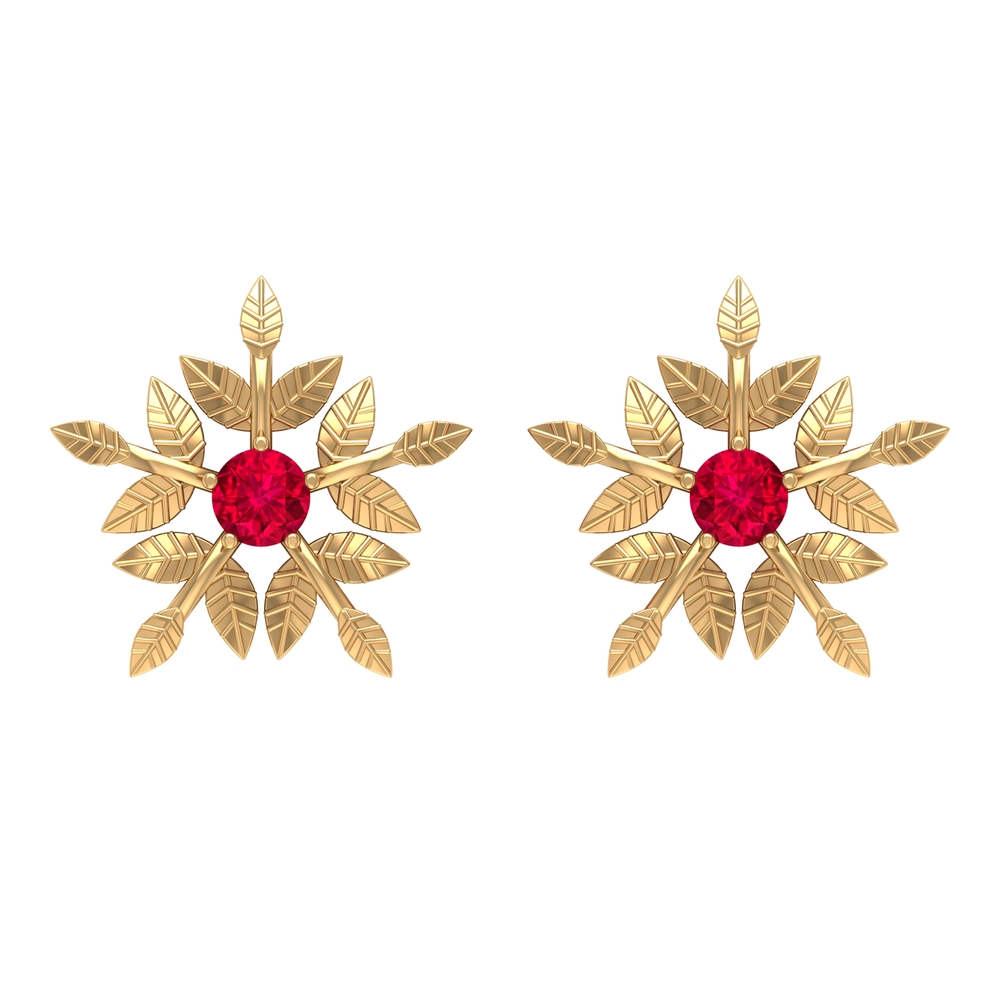 1/4 CT Round Ruby Floral Stud Earring in Prong setting with Engraved Details