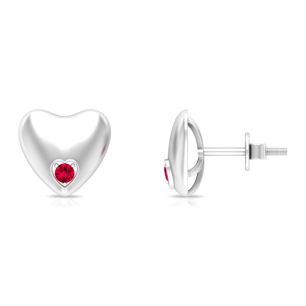 2.20 MM Ruby and Gold Heart Stud Earring