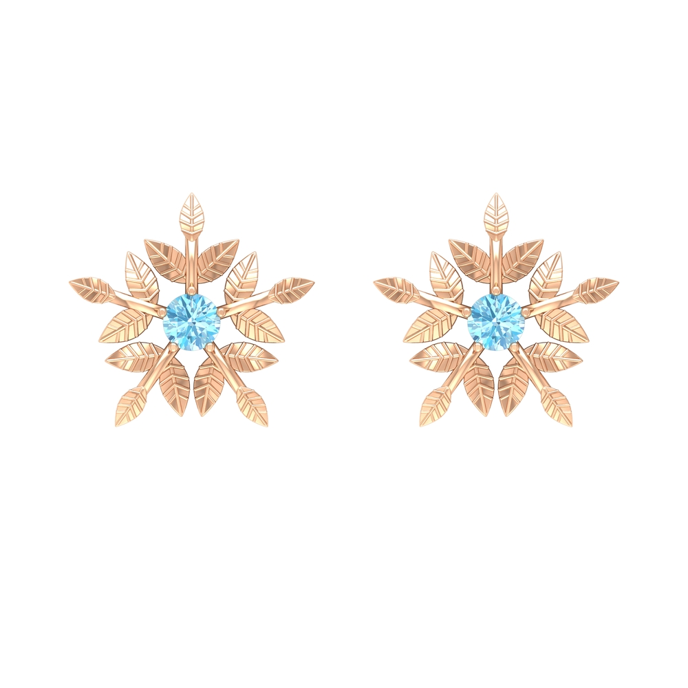 March Birthstone 1 CT Aquamarine Autumn Leaf and Gold Floral Engraved Stud Earrings