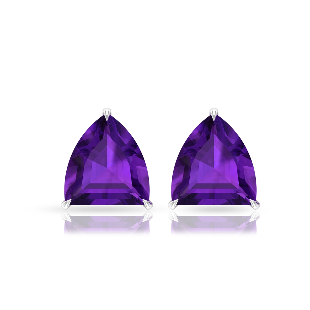 8X10 MM Heptagon Cut Solitaire Amethyst Stud Earrings in Claw Setting with Screw Back