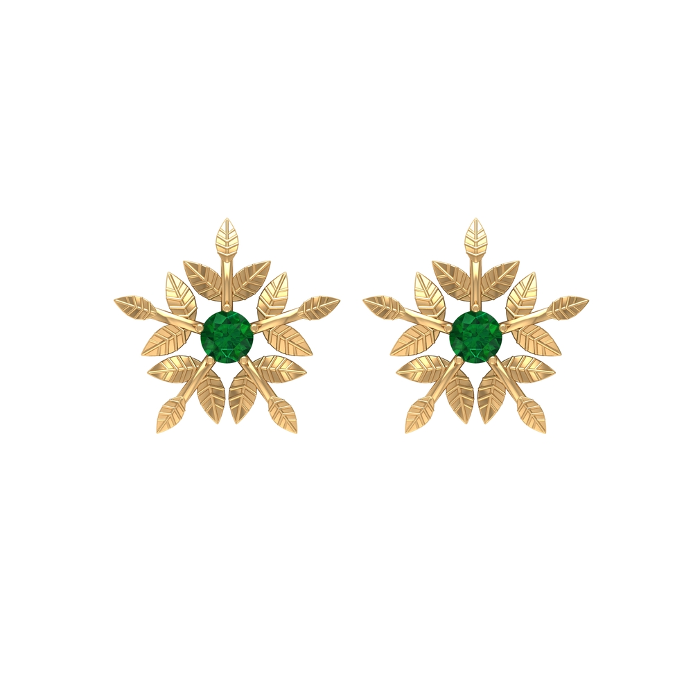 1/4 CT Emerald Floral Stud Earrings with Engraved Details