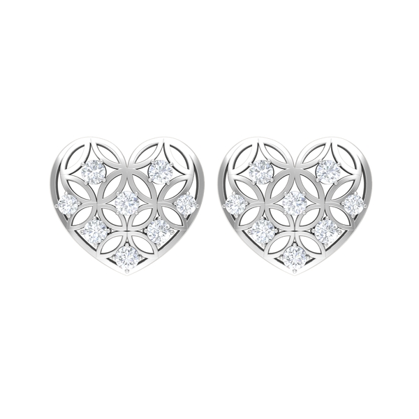 1/2 CT Moissanite and Gold Cut Out Heart Earring