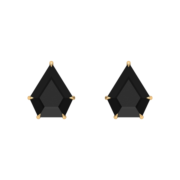 7 CT Shield Cut Black Spinel Solitaire Stud Earrings