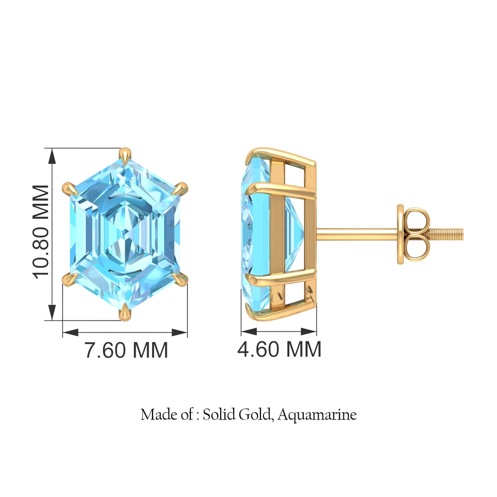 7X10 MM Rectangle Hexagon Shape Aquamarine Solitaire Stud Earrings in Claw Setting