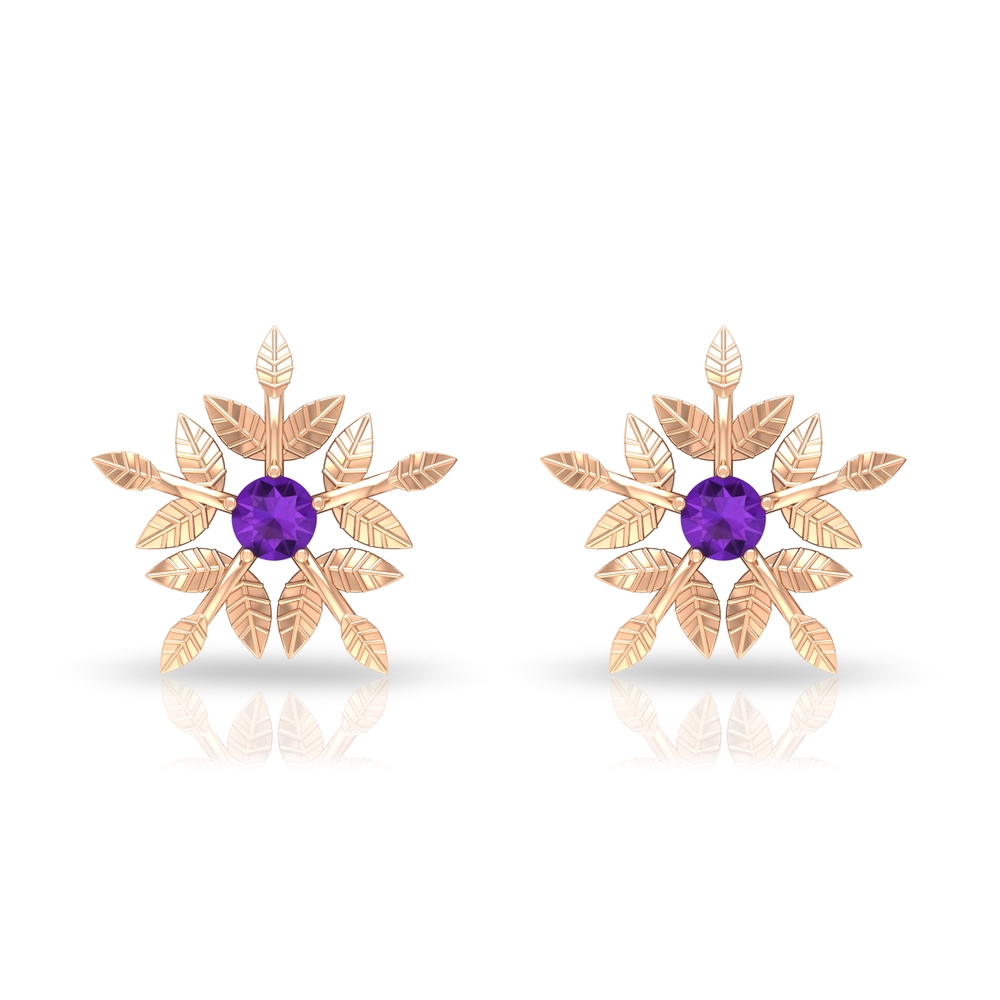 Engraved Gold Floral Stud Earrings for Women with Amethyst