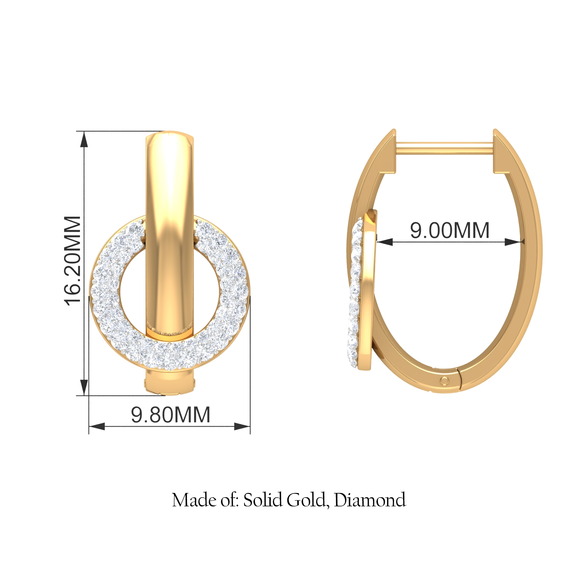 1/2 CT Diamond Accent Gold J Hinged Hoop Earrings for Women