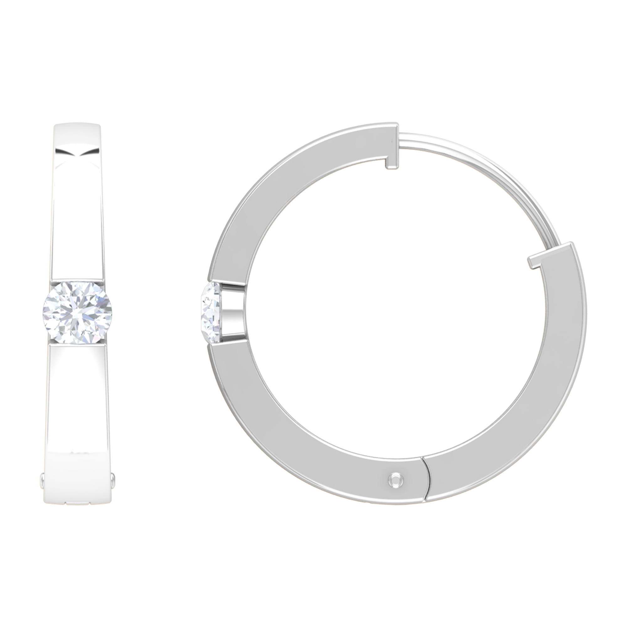 1/4 CT Diamond and Gold Hinged Hoop Earrings with Tension Mount Setting