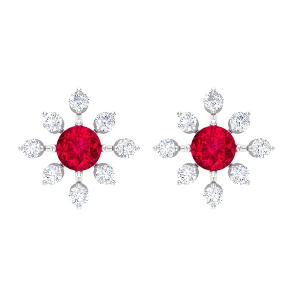1 CT Ruby and Diamond Contemporary Floral Stud Earrings