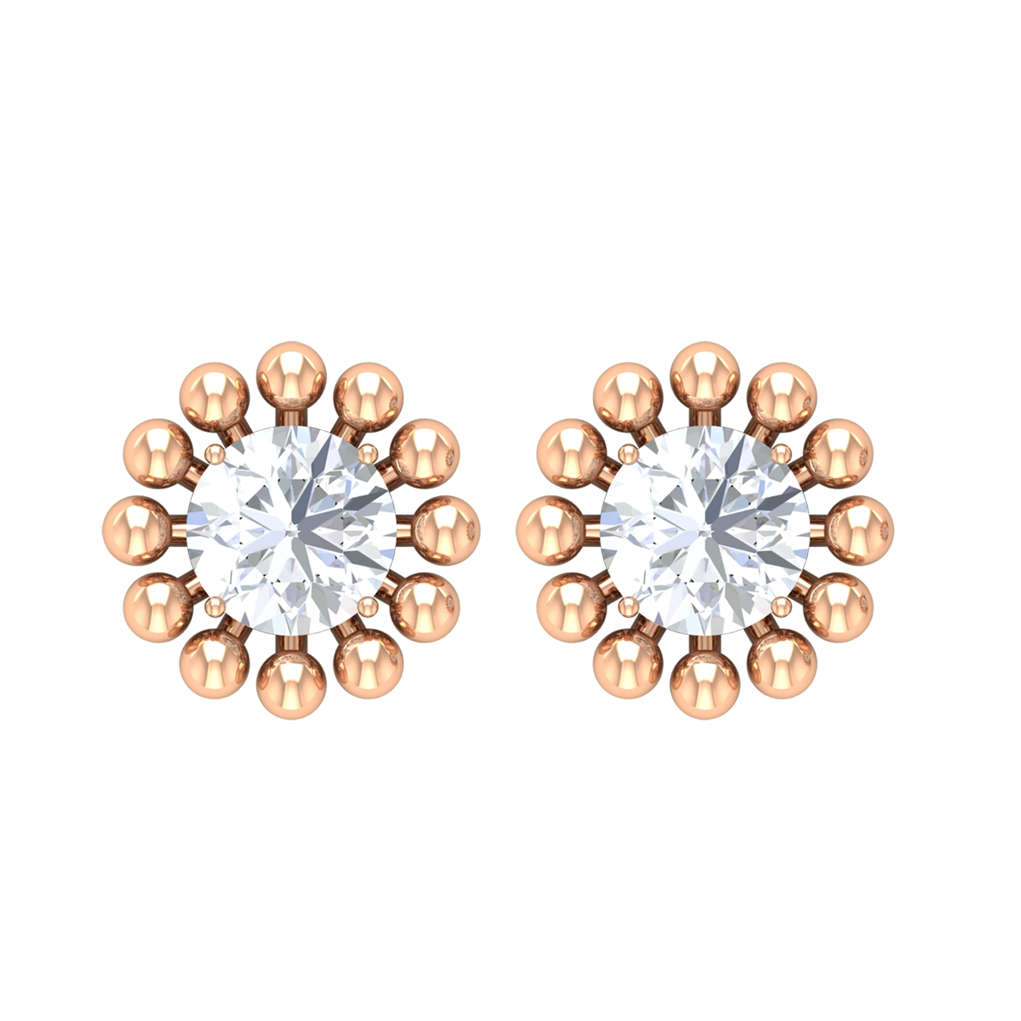 1/2 CT Diamond Solitaire Stud Earrings in Beaded Gold Embellishment
