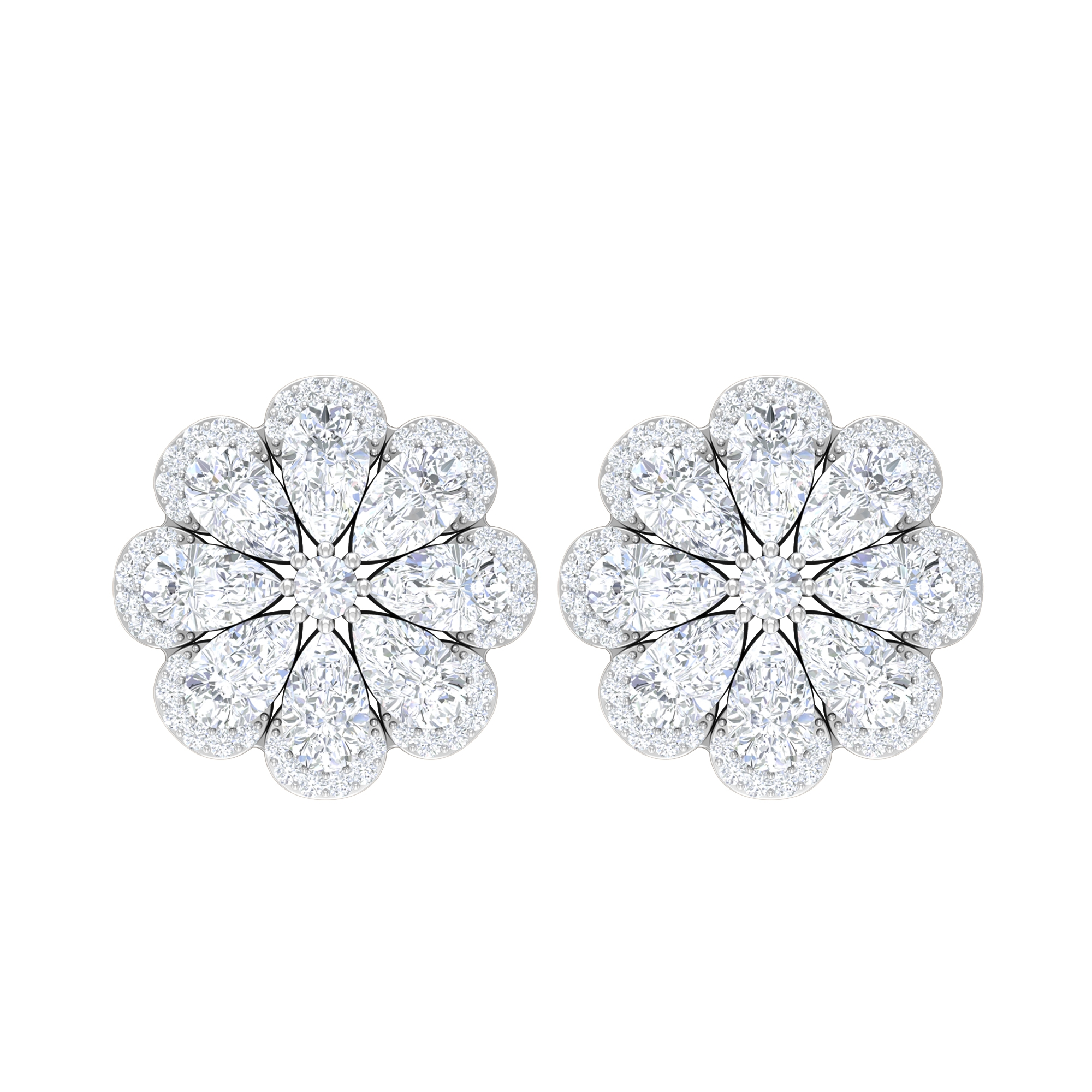 3.25 CT Diamond Floral Stud Earrings with Halo