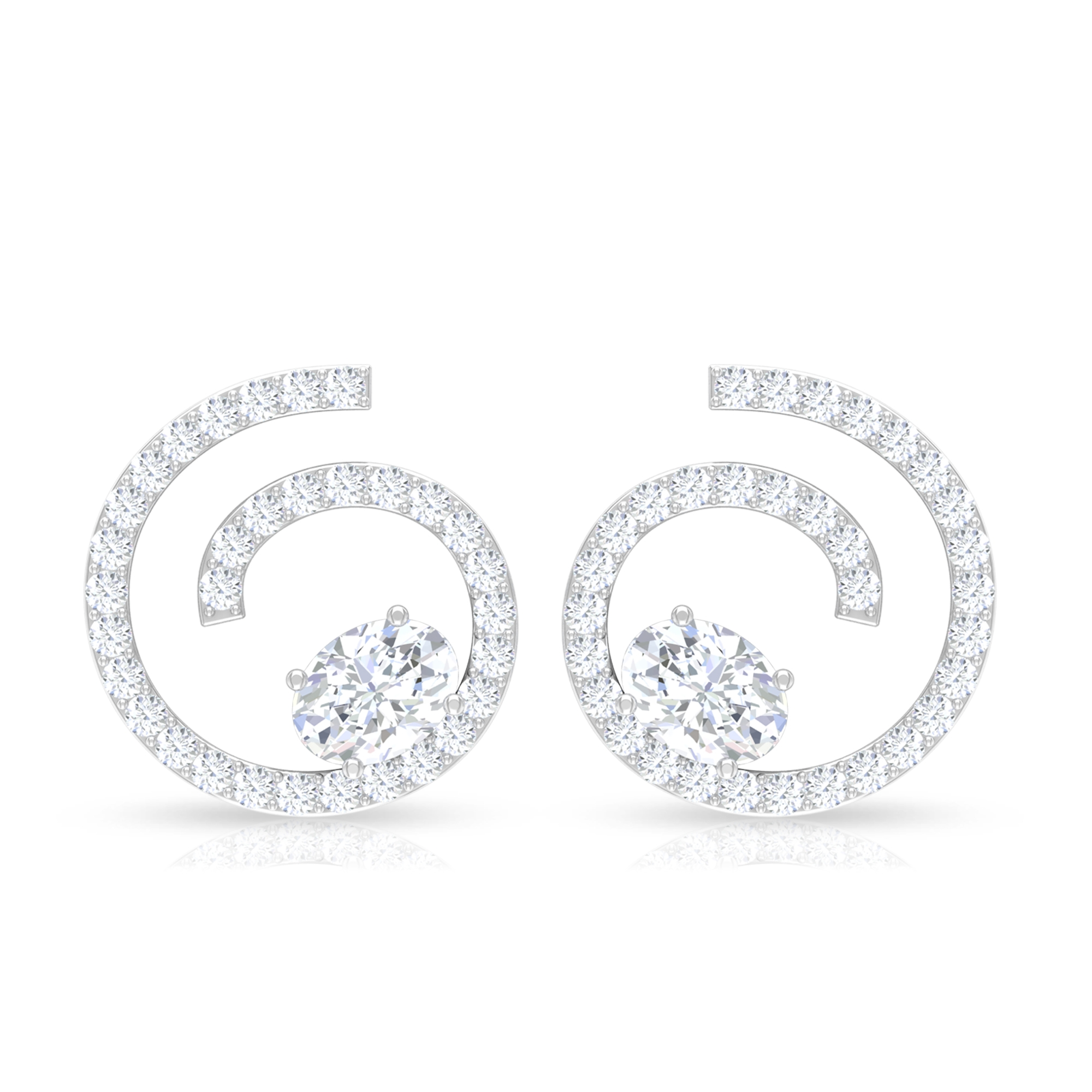 3/4 CT Diamond Swirl Stud Earrings with Oval Cut Solitaire