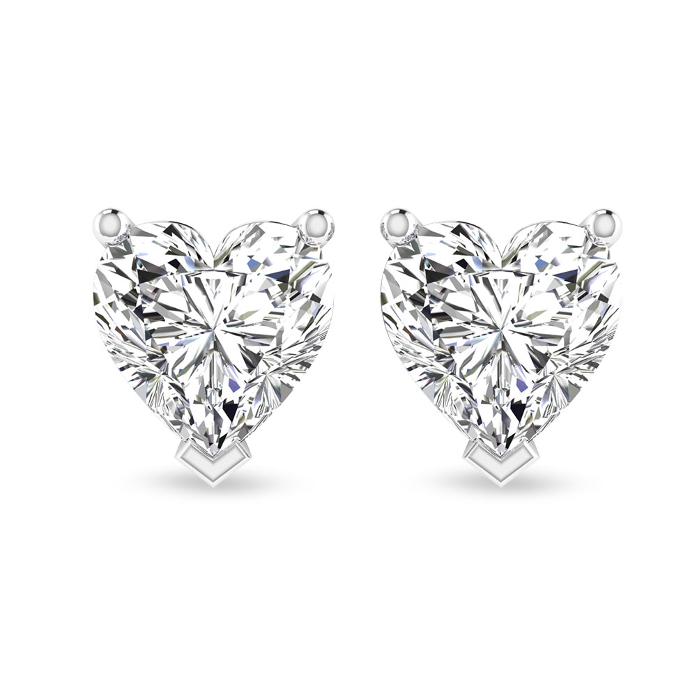 1/2 CT Heart Diamond Solitaire Stud Earrings in Prong Setting