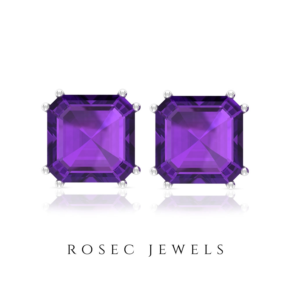 12 CT Amethyst Solitaire with Gold Stud Earrings