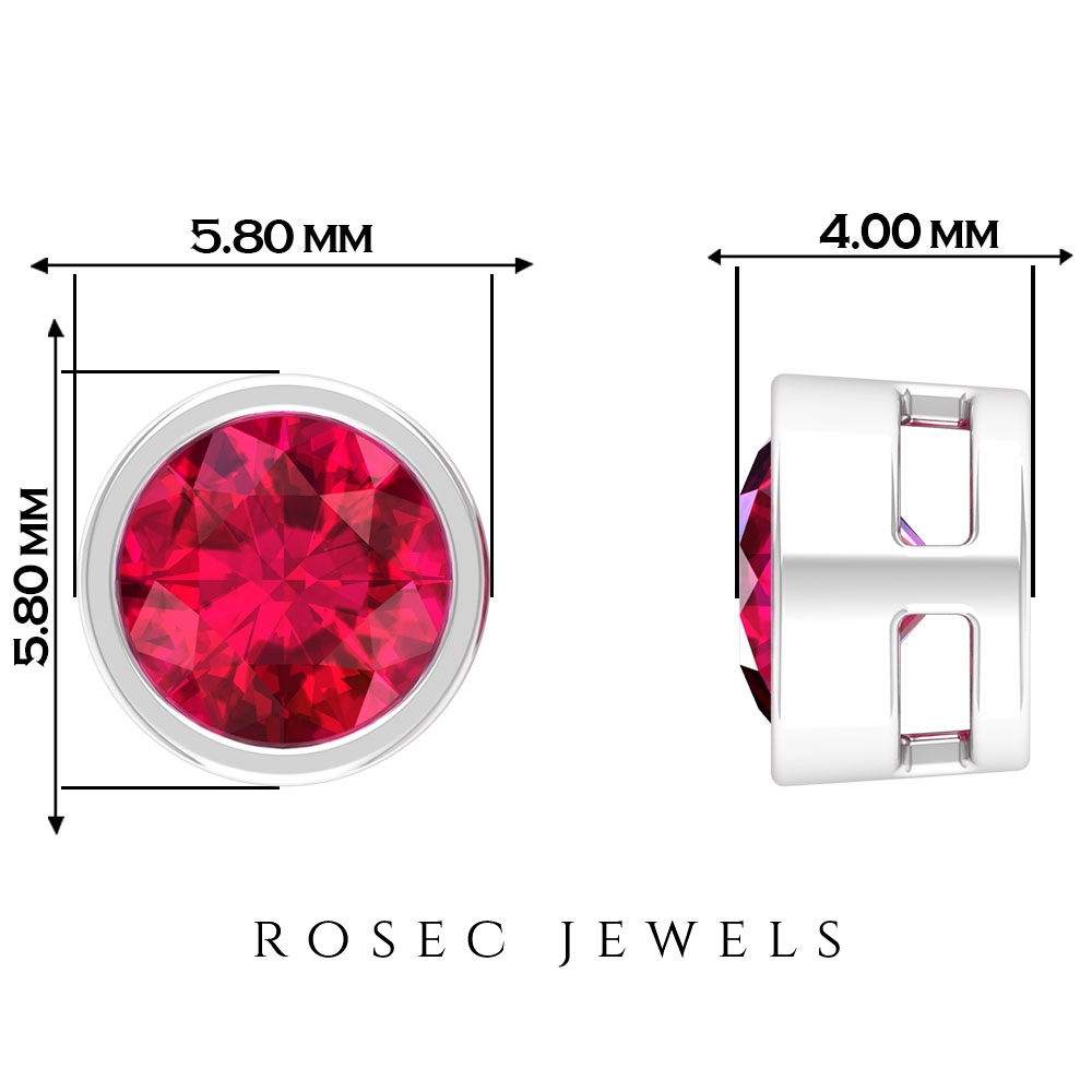 1.25 CT Round Cut Solitaire Stud Earrings with Bezel Set Ruby