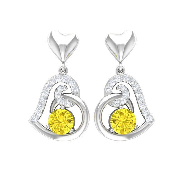 3/4 CT Yellow Sapphire and Moissanite Gold Heart Drop Earrings