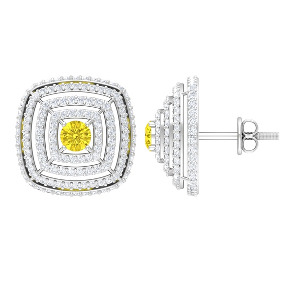1.50 CT Yellow Sapphire and Moissanite Halo Statement Stud Earrings