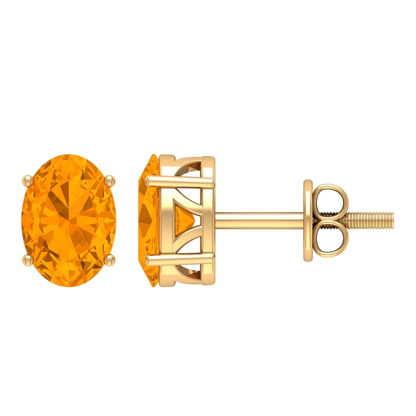 5X7 MM Oval Cut Created Orange Sapphire Solitaire Cocktail Stud Earrings for Women