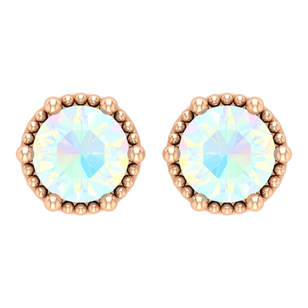 1/2 CT Ethiopian Opal Solitaire Stud Earrings in Beaded Prong Setting