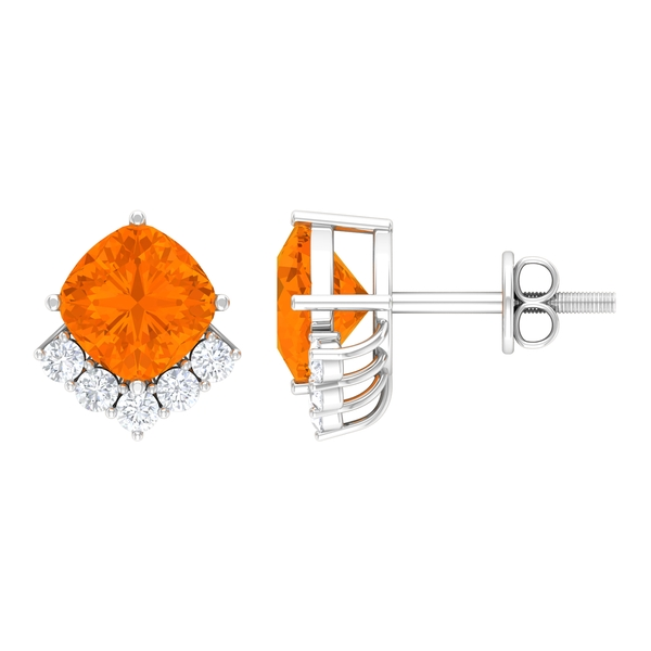 2 CT Cushion Cut Fire Opal Stud Earring with Diamond Accent