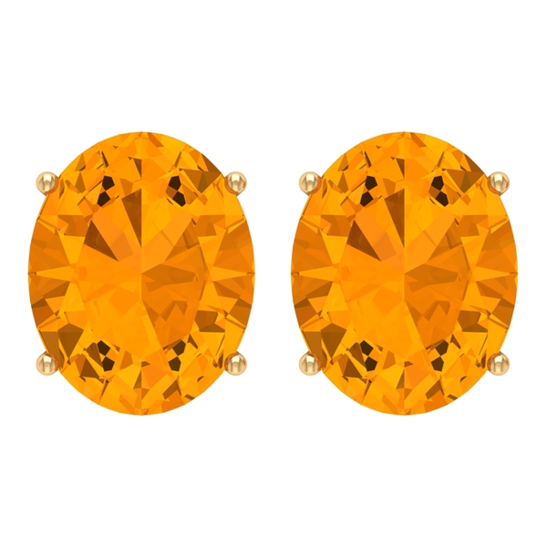 8X10 MM Created Orange Sapphire Solitaire Cocktail Stud Earring for Women