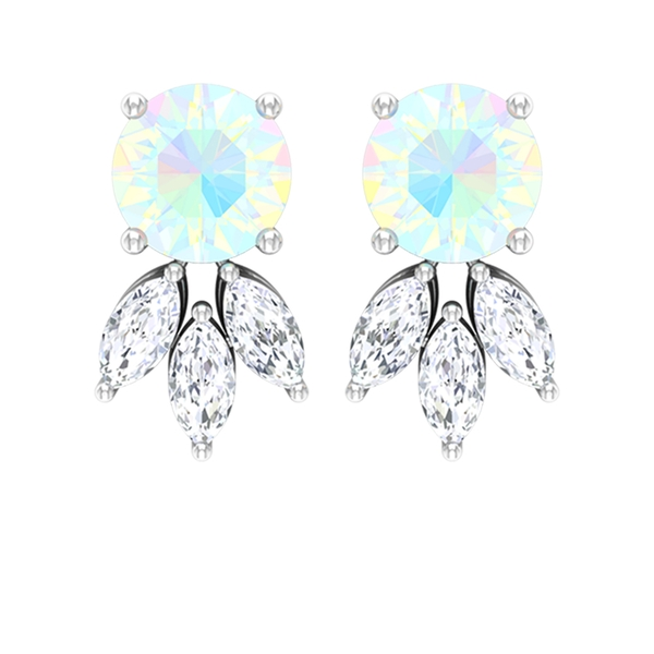 3/4 CT Round Shape Ethiopian Opal and Diamond Trio Floral Stud Earrings