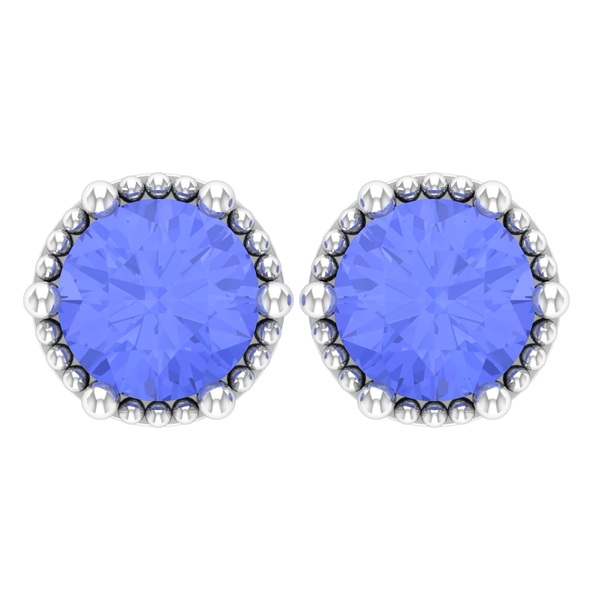 December Birthstone 1 CT Tanzanite Solitaire Stud Earrings for Women with Gold Milgrain Detailing