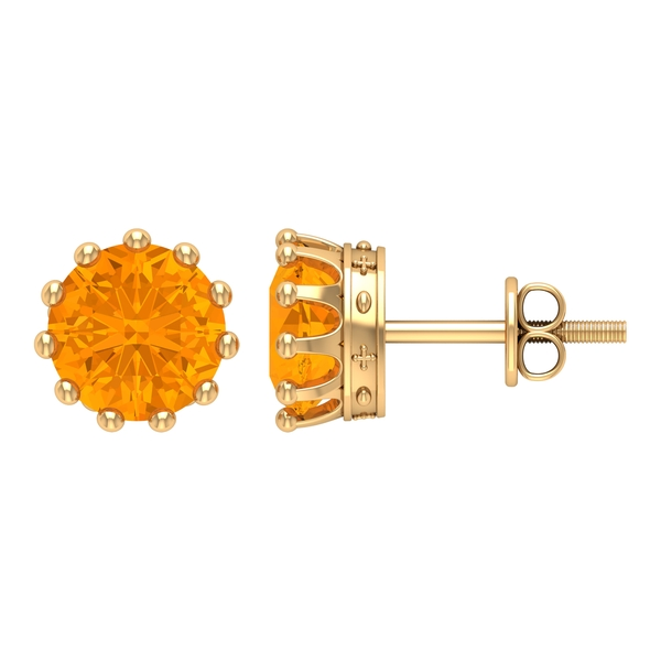 7 MM Crown Set Created Orange Sapphire Solitaire Stud Earrings for Women