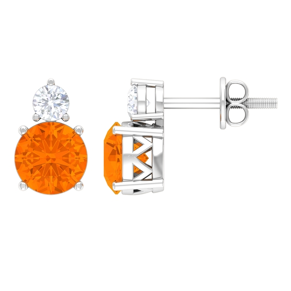 2 CT Two Stone Basket Set Stud Earrings with Fire Opal and Moissanite