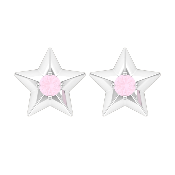 Rose Quartz Solitaire and Gold Star Stud Earring
