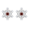 1/4 CT Statement Floral Stud Earrings with Red Onyx and Diamonds