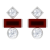 3/4 CT Simple Three Gemstone Stud Earrings with Red Onyx and Diamond