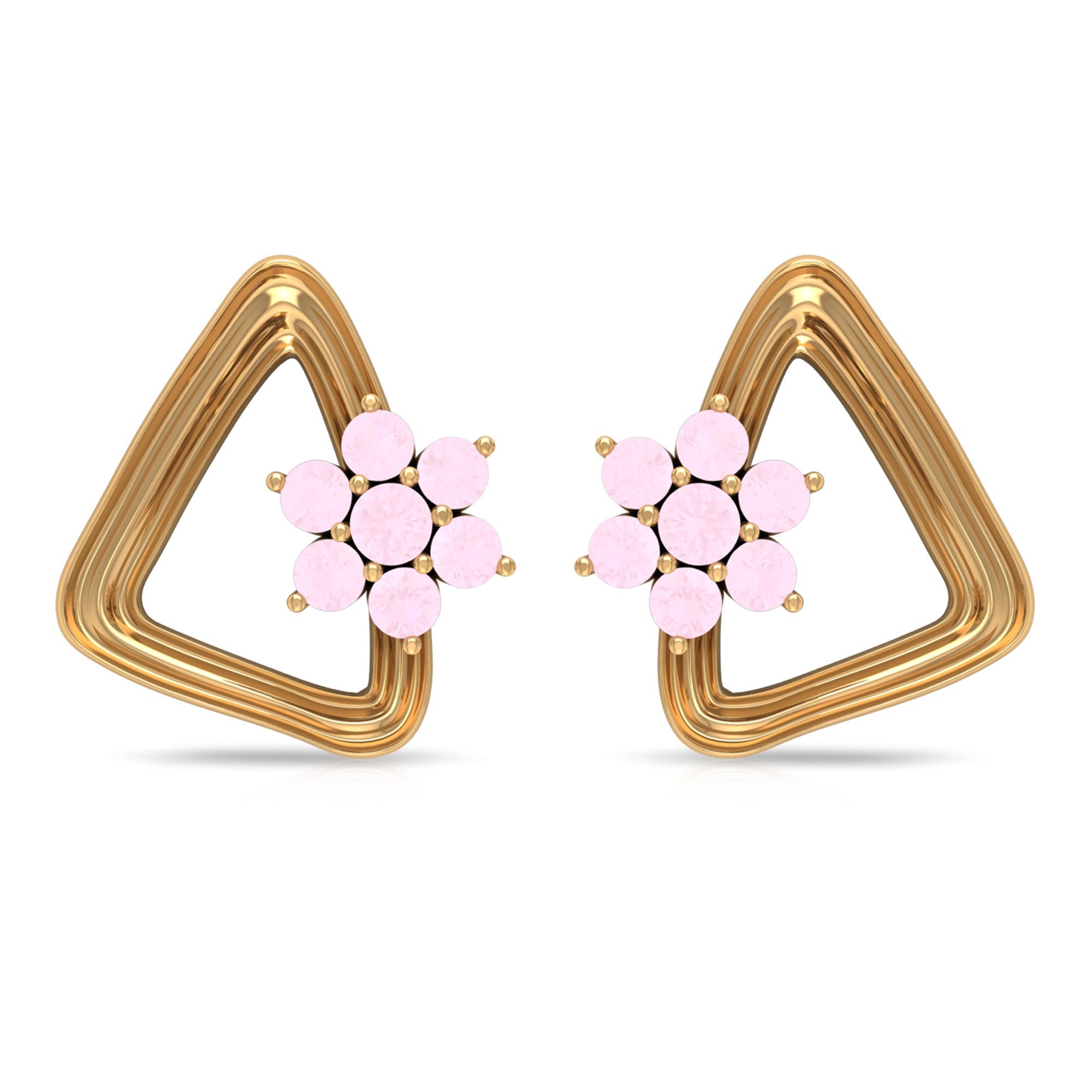 1/4 CT Gold Triangle Stud Earrings with White Topaz Flower