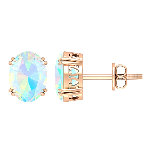 6X8 MM Oval Cut Ethopian Opal Solitaire Stud Earrings in Claw Prong Setting