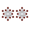 1/2 CT Red Onyx and Diamond Snowflake Stud Earrings for Women