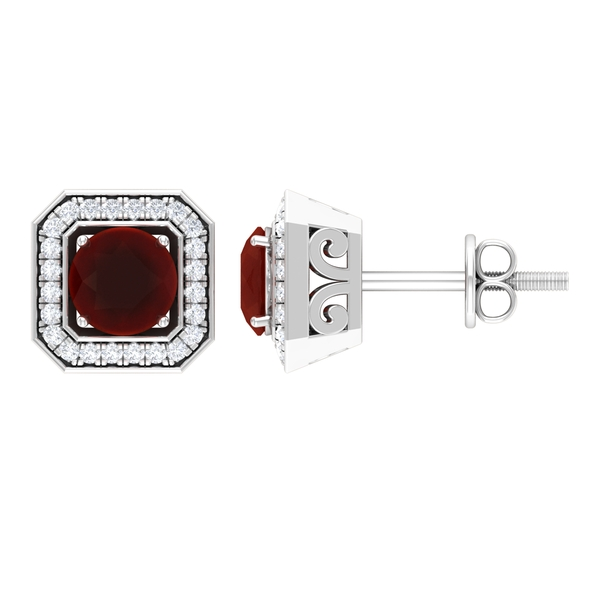 1 CT Vintage Inspired Stud Earrings with Red Onyx and Diamond