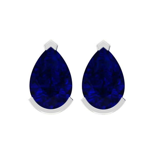 1 CT Pear Cut Created Blue Sapphire Solitaire Stud Earrings For Women