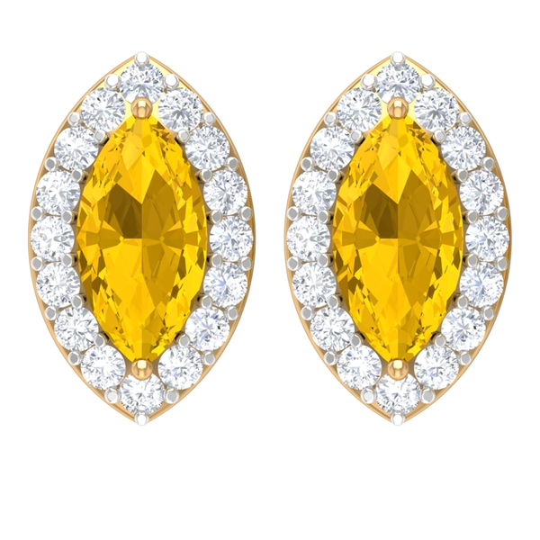 1 CT Marquise Cut Yellow Sapphire Solitaire and Diamond Halo Stud Earrings