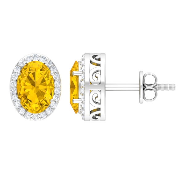 2.25 CT Oval Cut Yellow Sapphire and Diamond Halo Solitaire Stud Earrings