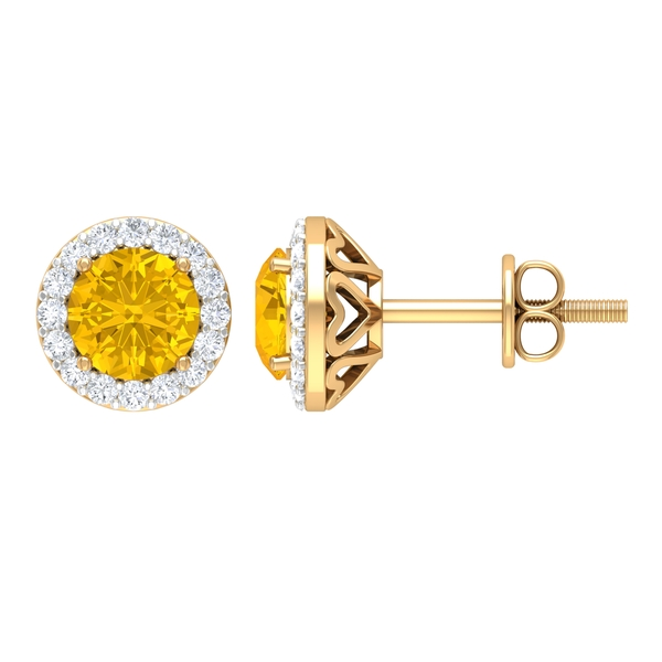 1.50 CT Classic Yellow Sapphire and Diamond Halo Stud Earrings For Women