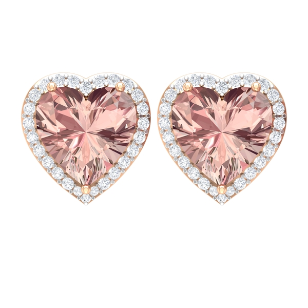 3.50 CT Heart Shape Created Morganite Solitaire and Diamond Halo Stud Earring
