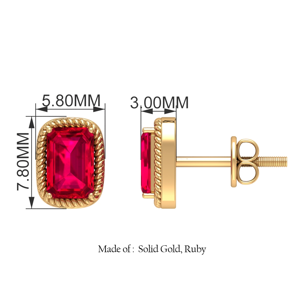 1.25 CT Octagon Cut Ruby and Gold Twisted Rope Solitaire Earrings