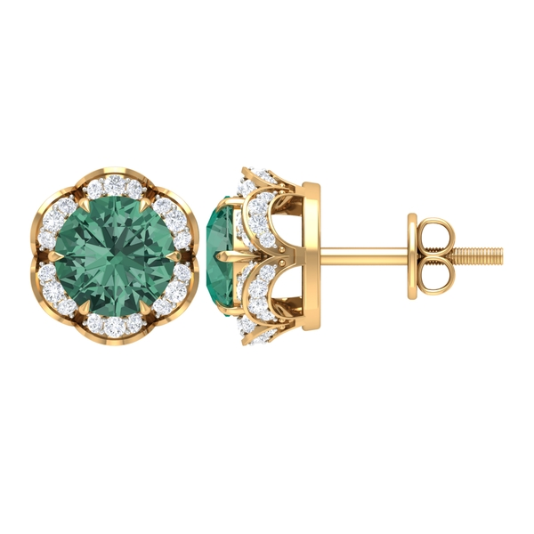 2.50 CT Claw Set Green Sapphire and Diamond Floral Stud Earrings