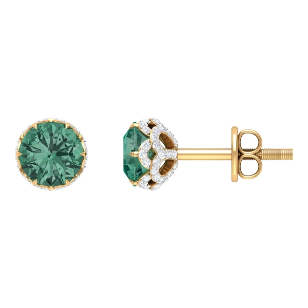 September Birthstone - 1.50 CT Lotus Basket Set Green Sapphire and Moissanite Floral Stud Earrings (AAA Quality)