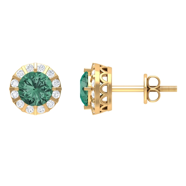 1.50 CT Green Sapphire and Moissanite Antique Stud Earrings (AAA Quality)